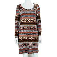 Uttami London Dress Red Mix Stripe Pattern UK 14 Cotton Blend Long Sleeve