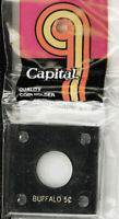 Capital Holder 2x2 For Buffalo Nickel Coin Display Black Acrylic Plastic Case