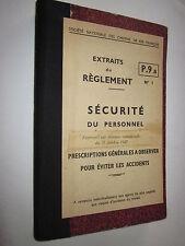 SNCF : EXTRAIT du REGLEMENT SECURITE DU PERSONNEL  1947