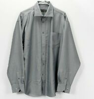 Bugatchi Uomo Mens  Shaped  Button Down Dress Grey Shirt Sz L