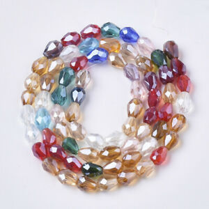 Strand teardrop faceted glass crystal beads briolette pear shape 8x6mm 11x8mm