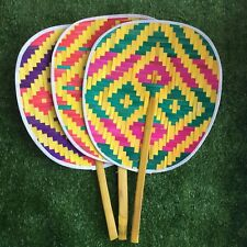 Thai Vintage Handmade Hand Fan Bamboo Weave Woven  Craft Collectible Decor Gift