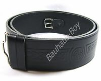"KILT BELT EMBOSSED BLACK LEATHER CELTIC KNOT sizes 30"" - 48"" by GLENESK UK MADE"