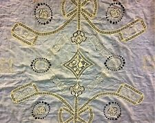 SET OF MARRIAGE BED COVER, CURTAIN AND CUSHIONS. EMBROIDERED BATISTA. SPAIN. XIX