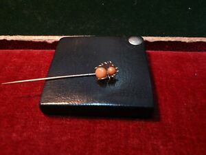 Antique / Old Spider stick pin / tie pin . Gold & Coral