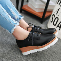 Women High Platform Wedge Lace Up Big Size Round Toe Oxford Creeper Casual Shoes