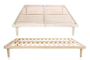 Beech Wood 140 x 200 cm Double Bed Frame Orthopedic Slatted Base Easy Assembly