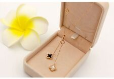 18K Rose Gold Stainless Steel Clover Flower Chain Pendant Necklace Adjustable NP