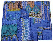 INDIAN QUEEN BLUE IKAT KANTHA QUILT BEDSPREAD THROW BLANKET Vintage Decor Hippie