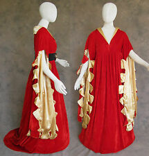 Red Scalloped Renaissance Medieval Dress SCA Ren Faire Game of Thrones LOTR S
