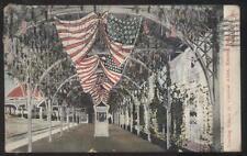 Postcard KANSAS CITY Missouri/MO  Electric Park Flag Draped Trolley Depot 1907