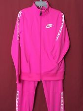 Nike Tracksuit Girls Age 13-15 Joggers And Track Top Pink With White Detail