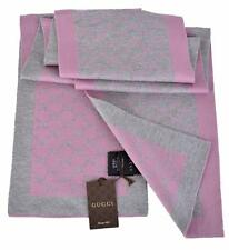 NEW Gucci 421068 Women's Grey and Pink GG Guccissima Scarf Muffler