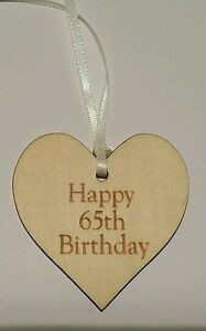 Happy 65th Birthday  Wooden Gift Tag