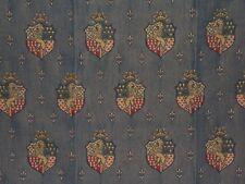 "Lee Jofa, ""Guinevere Weave"" embroidered heraldry crest, remnant, color indigo"