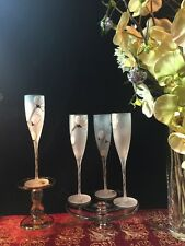 Four Champagne Flute Glasses  Frosted Glass Handpainted Flowers/Petals w/ Labels