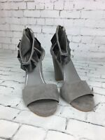 Women's NEXT Grey Faux Suede Heeled Block Sandals - Size UK 3.5