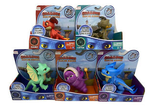 🔥 SET OF FIVE NETFLIX DRAGONS RESCUE RIDERS AGGRO FIGURE LIGHTS UP NEW IN BOX