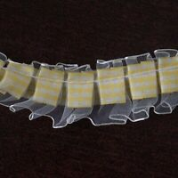 "1"" x 25 yrd IVORY YELLOW Gingham Organza Ruffle Trim RIBBON DIY Crafts Sewing"