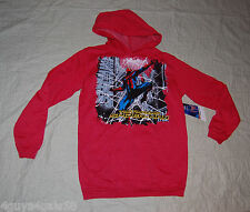 Boys RED AMAZING SPIDERMAN PULLOVER HOODIE w/ POUCH POCKET Extra Long L 10-12