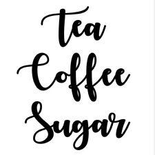 Tea Coffee Sugar Jars Labels Vinyl Decals Stickers Set Any Colour Kitchen