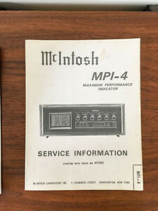McIntosh MPI4 MPI-4 Performance Indicator Service Manual *Original*
