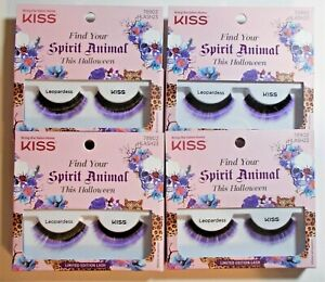 LOT 4 KISS Fake Eyelashes LEOPARDESS LIMITED EDITION Halloween PURPLE