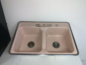 Vintage Cast Iron Kitchen Sink Double Bowl 4-Hole Rectangular Bitter Pink U.S.A