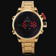 Luxury Men's Date LED Gold Case Stainless Steel Band Digital Analog Wrist Watch