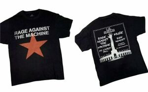 RAGE AGAINST THE MACHINE sz Large Red Star L.A. Rising Concert Black T-Shirt