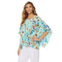 Slinky Brand Women's Floral Printed Pleated Poncho Top Turquoise Small Size HSN