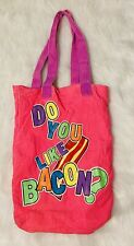 Justice Pink Mustache and Bacon Cotton Canvas Tote Bag Gift