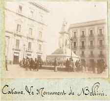 Italie, Catane. Le Monument de Bellini  Vintage citrate print.  Tirage citrate