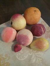 7 PIECES ALABASTER FRUIT MADE IN ITALY LABEL PEACHES PLUM STRAWBERRY ORANGE