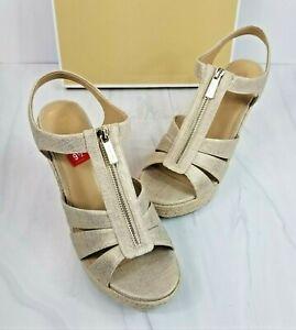 Michael Kors MICHAEL Wedge Shoe Zip Sandal Berkley Metallic Linen Gold 9.5M NEW