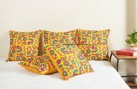 Indian Vintage Silk Embroidered Yellow Paisley Cushion Case Cover Throw Decor 16