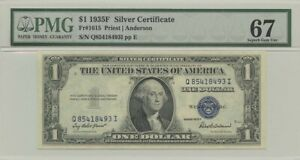 1935F $1 Silver Cert FR#1615 PMG 67 Superb Gem EPQ