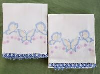 Vintage Pair of Pillowcases Embroideried Blue butterfies Crochet Edge