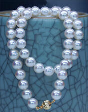"""Top luster round AAAAA 17"""" 8-9 mm real AKOYA SOUTH sea white pearl necklace 14k"""
