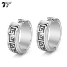 TT Silver Stainless Steel Greek Key Hoop Earrings 20mm (EH128S) NEW