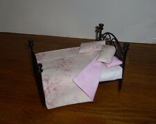 DOLLS HOUSE 12th  TILDA FABRIC THROW & 3 PILLOWS DOUBLE BEDDING SET