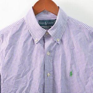 Ralph Lauren Mens M Custom Fit Gingham Purple Shirt Button Front Medium Slim