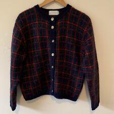 Vintage Edinburgh Heritage Cardigan Mohair Check Blue Red Green Size Medium M