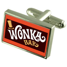 Wonker Chocolate Bar Cufflinks Crystal Tie Clip Bar Box Set Engraved