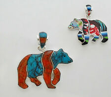 LOVELY ARTISAN BEAR PENDANT IN TURQUOISE/MULTICOLOR INLAY.925 STERLING SILVER