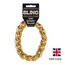 GOLD GANGSTER BRACELET Pimp Rapper Hip Hop Fancy Dress Costume Chain Bling UK