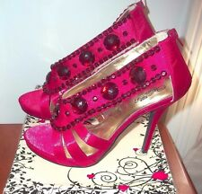 New WILD ROSE Red Jeweled Satin Strappy Heels Shoes Sz 10 club party stiletto