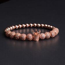 Noble Men's Women Gem Copper Rose Gold Prayer Cubic Zircon 8MM Beads Bracelets