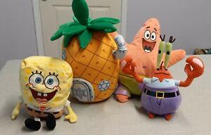 Beanie Babies Spongebob Squarepants & houseSoft Plush Toy Patrick Starr Mr Krabb