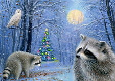 Raccoons snowy owl bird Christmas tree lights forest landscape OE ACEO print art